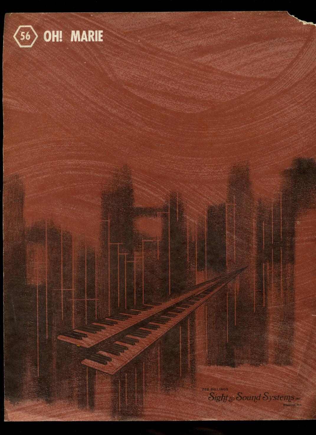 BILLINGS, ZEB - Oh! Marie [Vintage Organ Sheet Music] Register No. 20