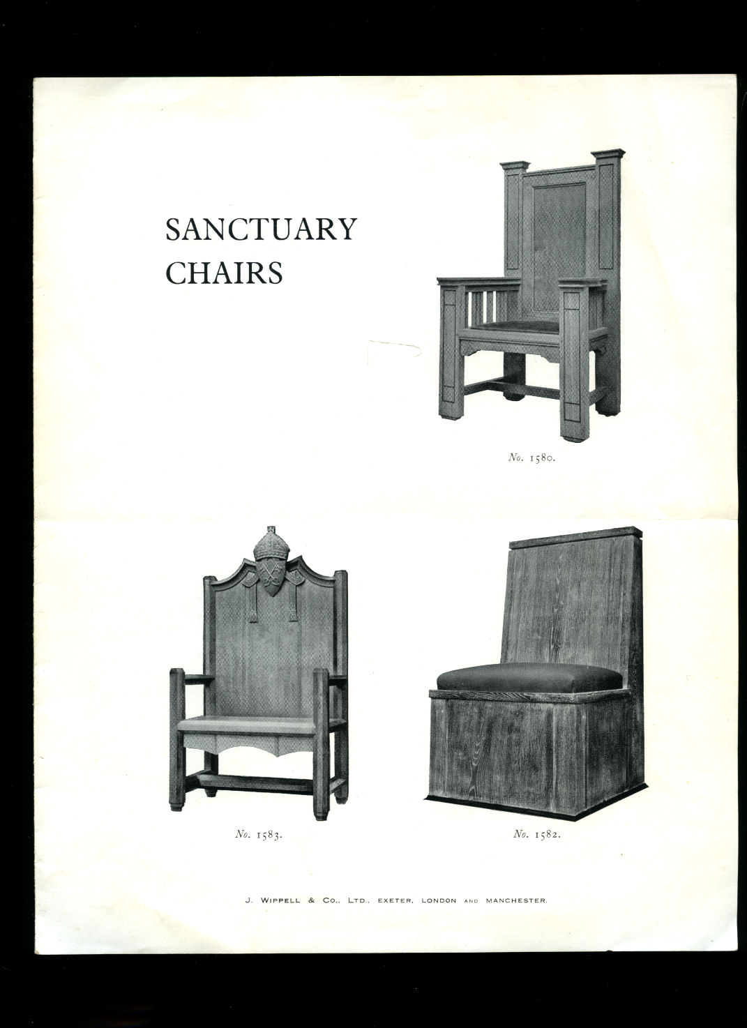 J. WIPPELL & CO. LTD., EXETER, LONDON AND MANCHESTER - Church Furniture   Original Plans, Sketches, Proposed Designs and Catalogue for Sanctuary Chairs   Letters   Price Lists   Examples of Work Executed By J. Wippell & Company Ltd., [11 Pieces in Total]