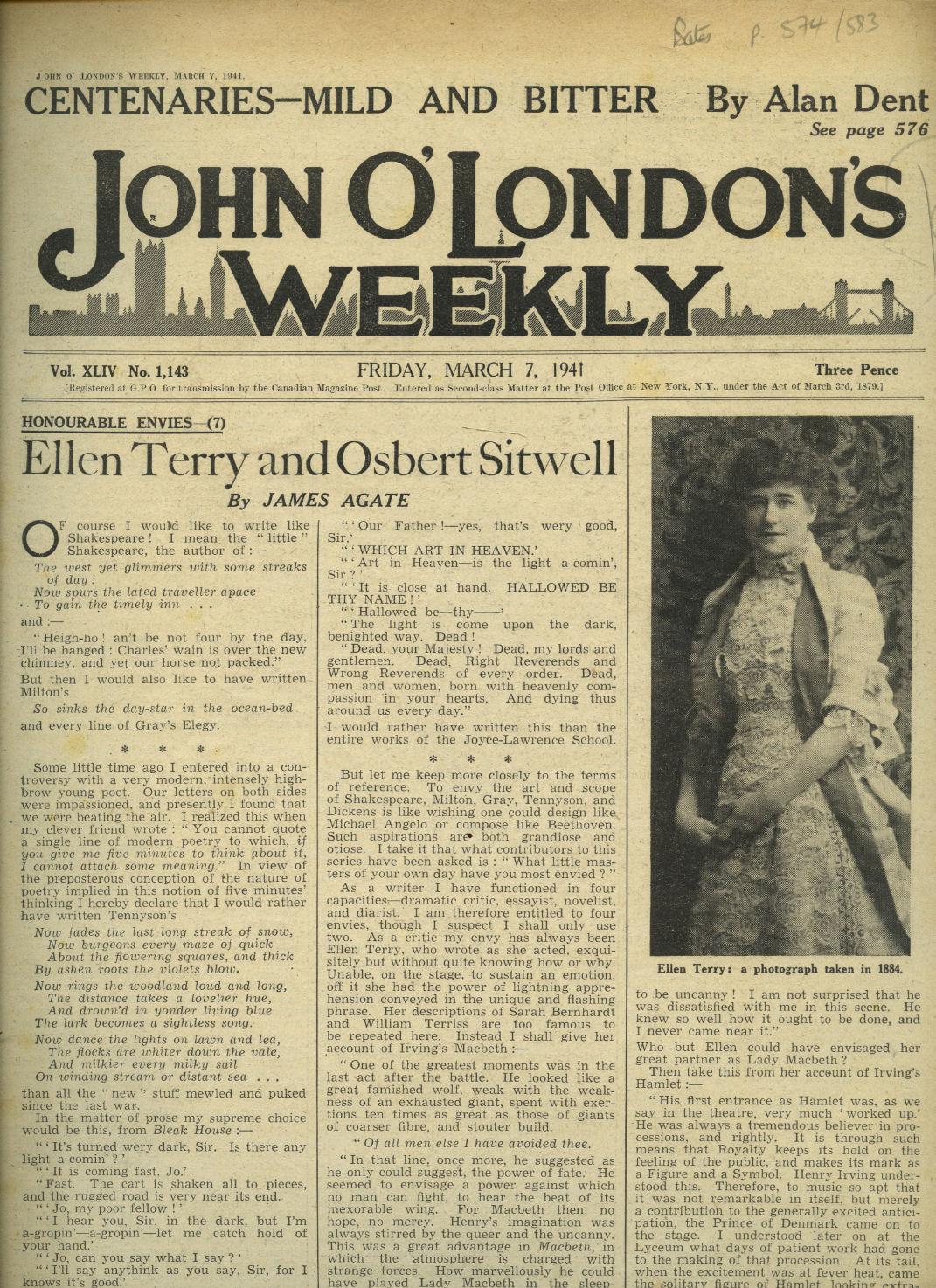 NEW SHORT STORIES AND ARTICLES BY: H. E. BATES; JOHN HARLEY-MASON; JAMES AGATE; ALAN DENT; HOOLE JACKSON. [HENRY WILLIAMSON | ELLEN TERRY | OSBERT SITWELL]. - John O'London's Weekly | Volume XLIV. Issue Number 1143 | Friday, March 7, 1941 | H. E. Bates 'Henry Williamson' and 'New Books Reviewed'; John Harley-Mason 'Tracking Down the Virus'; James Agate 'Ellen Terry and Osbert Sitwell'; Alan Dent 'Centenaries Mild and Bitter'; Hoole Jackson 'Cornwall in Peace and War'.