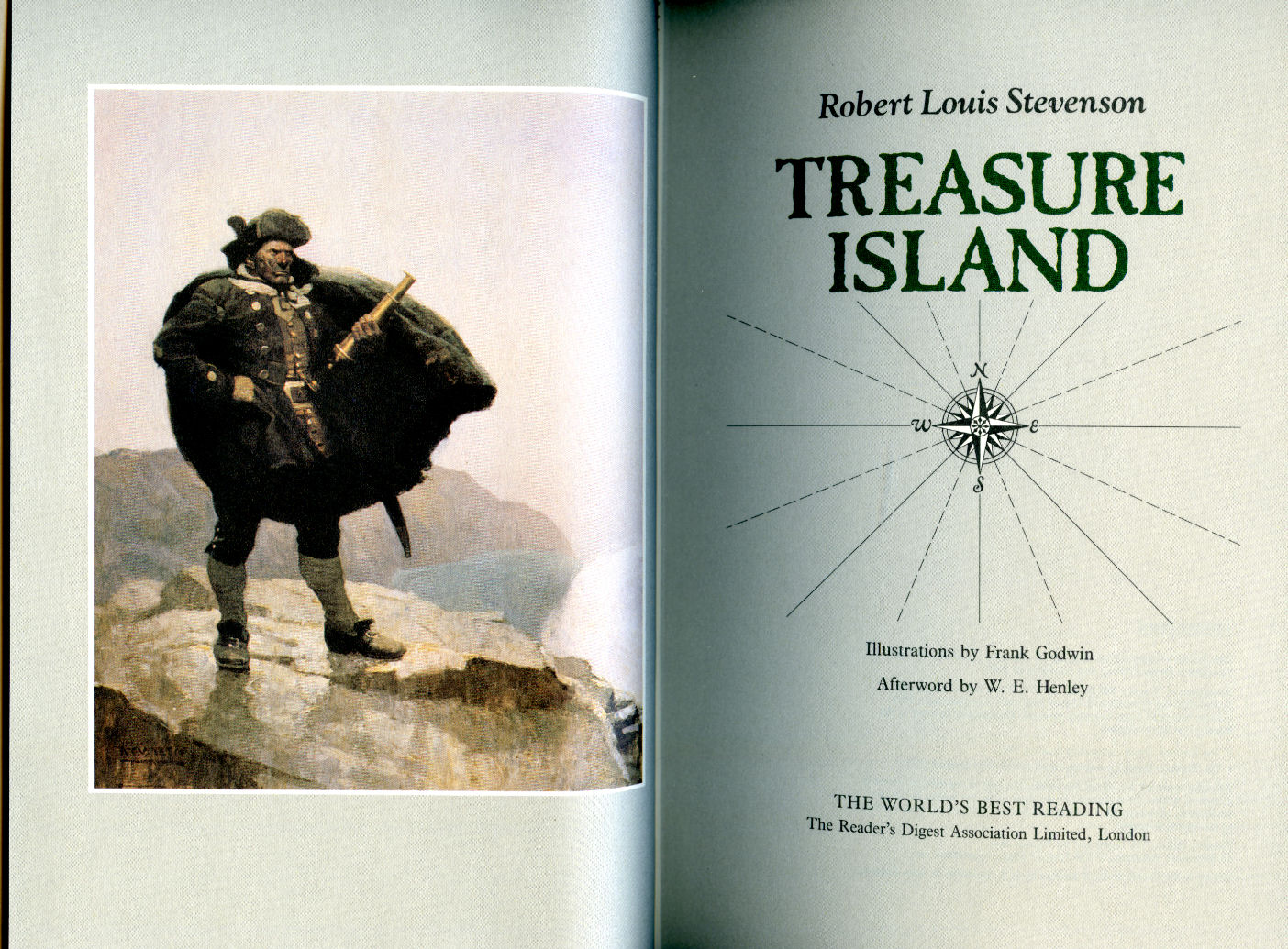 STEVENSON, ROBERT LOUIS [ROBERT LOUIS STEVENSON (13 NOVEMBER 1850 - 3 DECEMBER 1894)]. ILLUSTRATED BY FRANK GODWIN [AFTERWORD BY W. E. HENLEY]. - Treasure Island (The World's Best Reading Series)