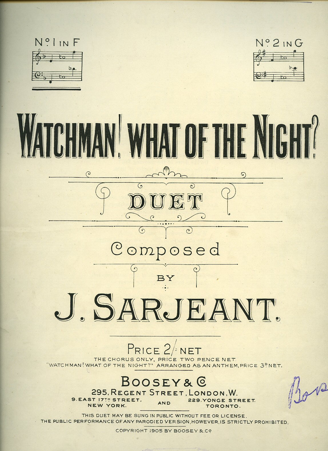 J. SARJEANT [MUSIC] ANON [LYRICS] - Watchman! What of the Night? Duet [Vintage Piano Sheet Music] [1]
