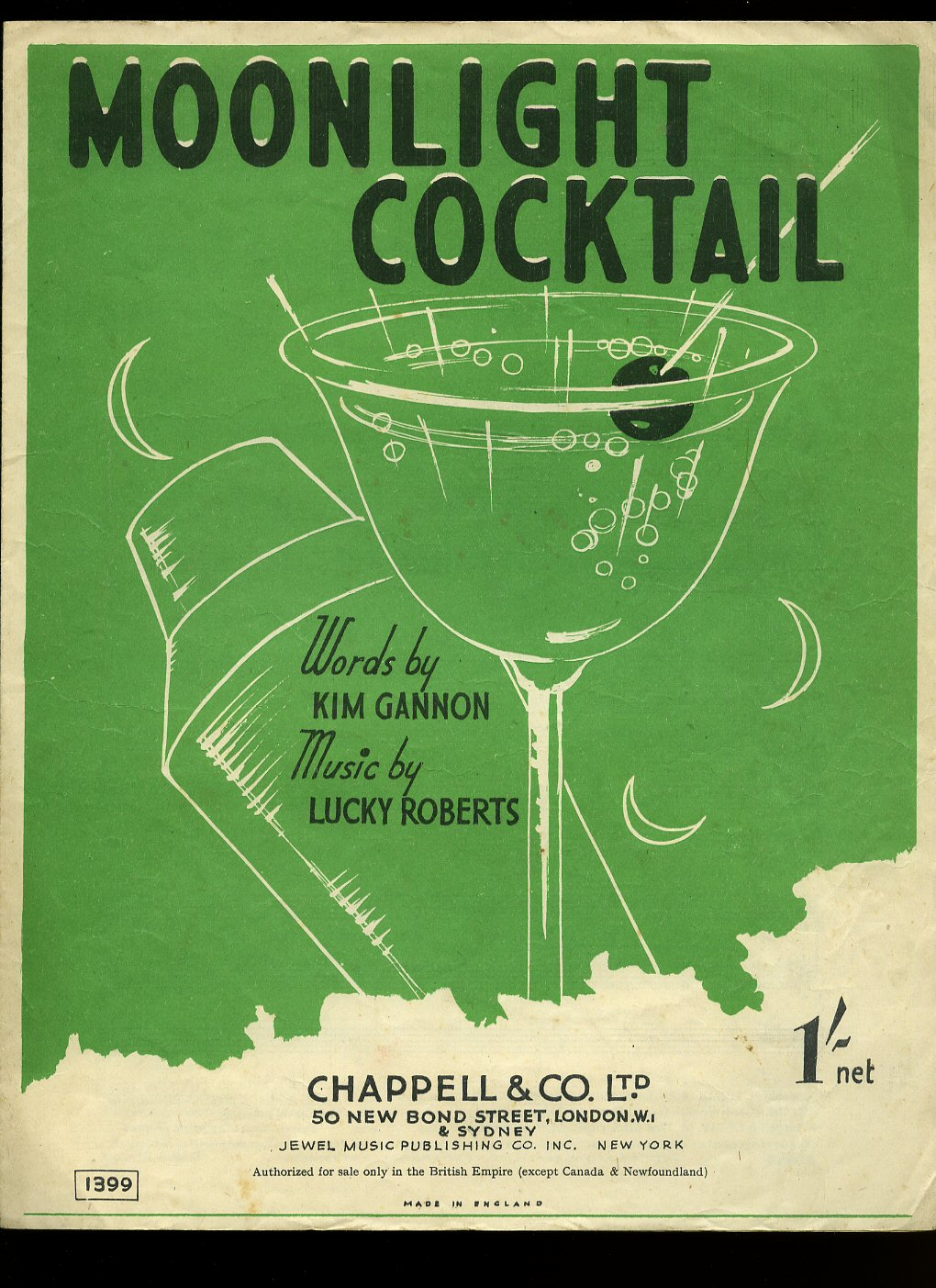 Moonlight Cocktail [Vintage Piano Sheet Music]