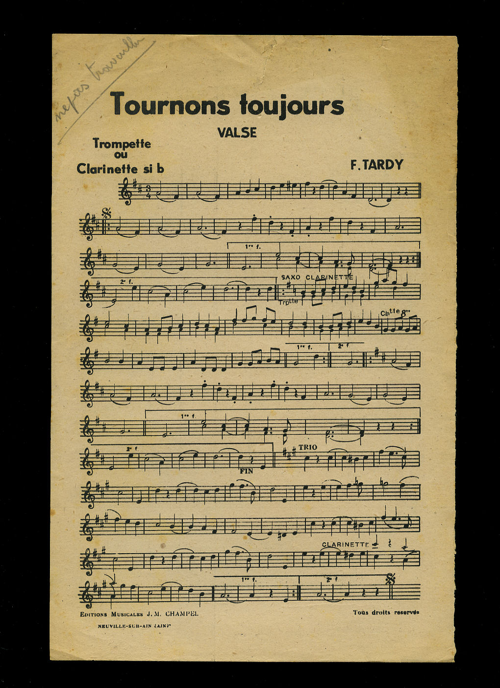 F. TARDY AND L. BARLET (MUSIC) - Tournons Toujours (Valse) | Fête A Kembs (Valse) [Musicians Vintage French Sheet Music for the Trumpet]