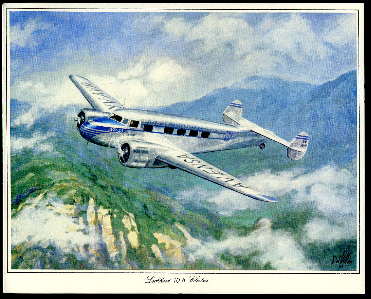 AEROVÍAS VENEZOLANAS SOCIEDAD ANONIMA. [THE FRONT COVER IS FROM A PAINTING BY ILLUSTRATOR DEL VILLAR]. - Avensa (Aerovías Venezolanas Sociedad Anonima) Venezuela Operational 1943-2004 | First Class Menu from 1984 | Lockheed 10A Electra.